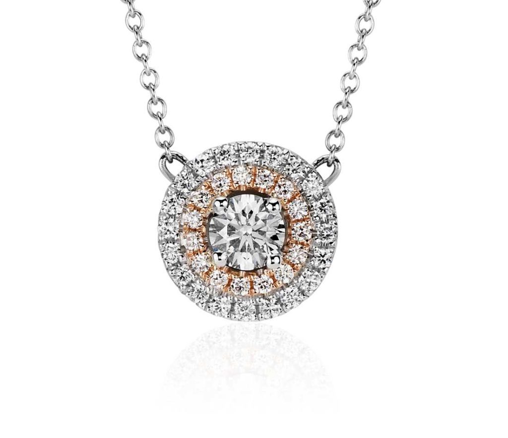 double-halo-pendant Engagement Rings