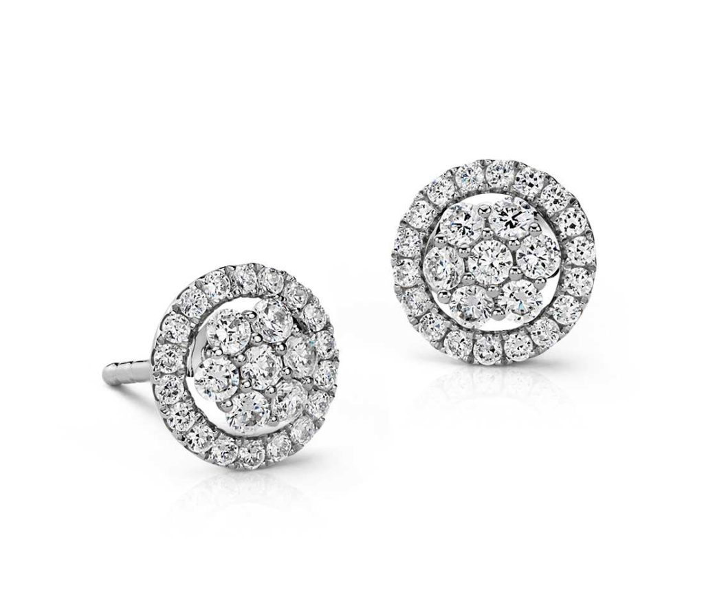 pave halo earrings